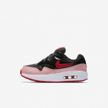 Nike Air Max 1 Lifestyle Shoes For Girls Black/Coral/Red AO1027-001