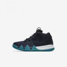 Nike Kyrie 4 Basketball Shoes For Girls Dark Obsidian/Black AA2898-401