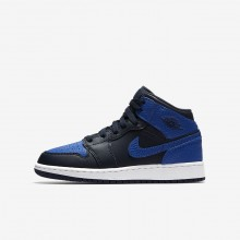 Air Jordan 1 Mid Lifestyle Shoes For Boys Obsidian/White/Royal 554725-412