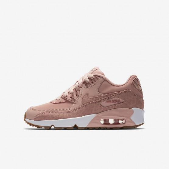 Nike Air Max 90 Lifestyle Shoes Girls Coral Stardust/White/Gum Light Brown/Rust Pink 897987-601