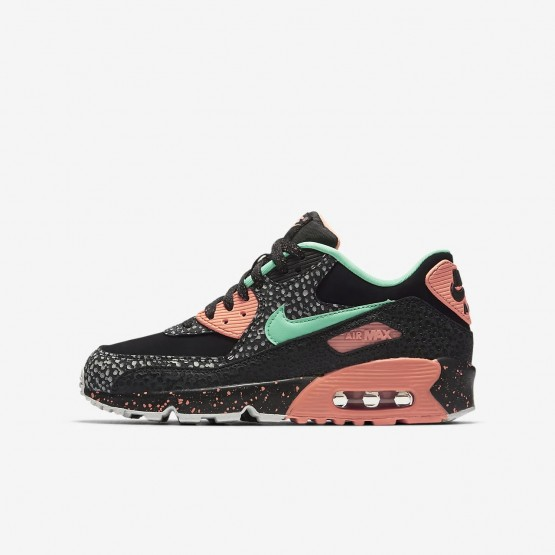 Nike Air Max 90 Lifestyle Shoes For Boys Black/Red/Grey/Green AJ2776-001