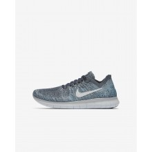 Nike Free RN Flyknit Running Shoes For Boys Blue/Grey/White/Platinum 881973-402