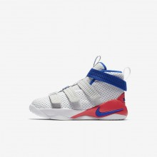 Nike LeBron Soldier XI Basketball Shoes For Boys White/Red/Platinum/Blue AJ7576-101