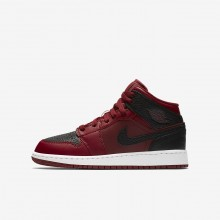 Air Jordan 1 Mid Lifestyle Shoes For Boys Red/White/Red 554725-601
