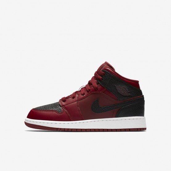 Air Jordan 1 Mid Lifestyle Shoes Boys Team Red/Summit White/Gym Red 554725-601