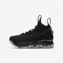 Nike LeBron 15 Basketball Shoes For Boys Black/Metallic Gold 922811-006
