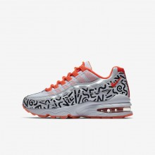 Nike Air Max 95 Lifestyle Shoes For Boys White/Black/Light Red/White AH3808-100