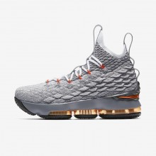 Nike LeBron 15 Basketball Shoes For Boys Black/Dark Grey/Orange 922811-080