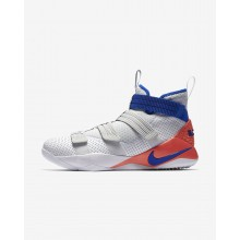 Nike LeBron Soldier XI Basketball Shoes Womens White/Infrared/Pure Platinum/Racer Blue 897646-101