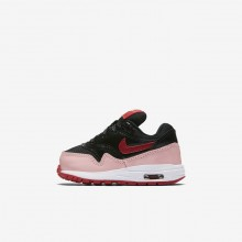 Nike Air Max 1 Lifestyle Shoes For Girls Black/Coral/Red AO1028-001