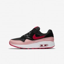Nike Air Max 1 Lifestyle Shoes For Girls Black/Coral/Red AO1026-001